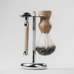 Kit de afeitado vintage de madera